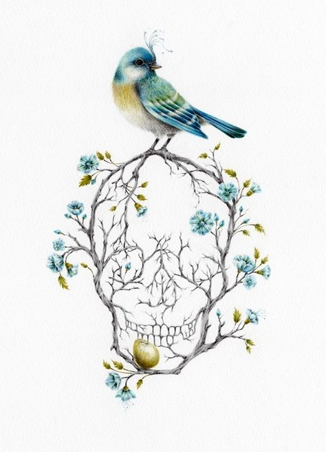 Skull Tattoo | Courtney Brims  Love the concept, but I would have a crow on the top and a duck egg...and maybe poppies or iris'