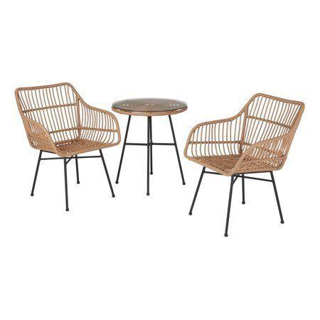Safavieh PAT9004C Collection Alton Light Brown and Beige 3 Piece Lounge Outdoor Set