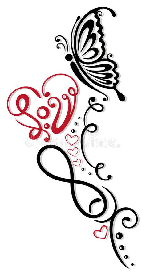 Illustration about Infinity with heart and butterfly, Symbol of love, Tribal and Tattoo style.