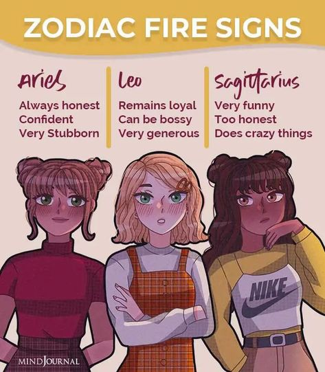 Zodiac Fire Signs:- Aries:- Always honest, Confident, Very Stubborn; Leo:-Remains loyal, Can be bossy, Very generous; Sagittarius:- Very funny, Too honest, Does crazy things #zodiacmemes #zodiac