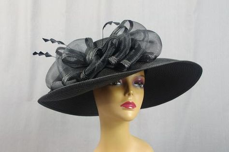39f10a5fe42 Extra Wide Brim Hat   Black and White Hat   White Floppy Hat   Church Hat   Kentucky  Derby Hat   Floral Hat   Ascot Hat   Derby Hat