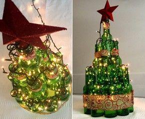 Arvore De Natal Criativa Monte A Sua Usando Garrafas De Vidro