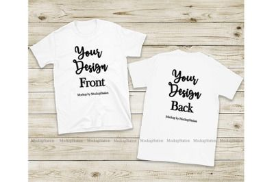 Download Front Back White Tshirt Mockup Gildan 64000 Shirt Mock Up Psd Mockup Template Tshirt Mockup Design Mockup Free Psd Mockup Template