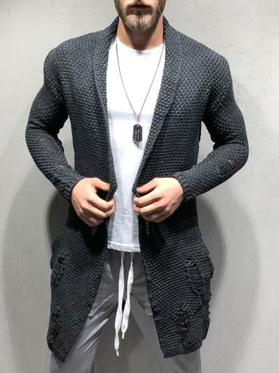 Oversize Pullover Cardigan Cappuccio Maglia Giacca Uomo destroyed Style Bianco S-XL