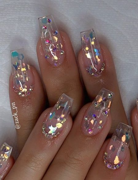 65 Summer Acrylic Nail Design 2020 In 2020 Clear Nail Designs Nail Designs Summer Acrylic Clear Acrylic Nails
