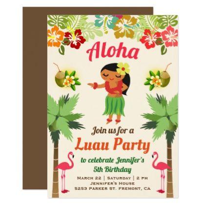 Cute Hawaiian Hula Girl Luau Birthday Party Invite