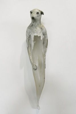 """""""Lamb Girl,"""" 2010  Hand blown glass, marble mix, and sumi-e ink  Gaffer: Ferd Theriot  23 x 5 x 5.5"""