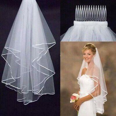 Ebay Ad White Pearls Wedding Veil Elbow Edge Satin Bridal Veil With Comb Access Hot Sale Wedding Bridal Veils Bride Veil Short Veils Bridal