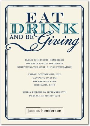Fundraiser Invitation  Eat Drink And Be Giving  Fundraising Event