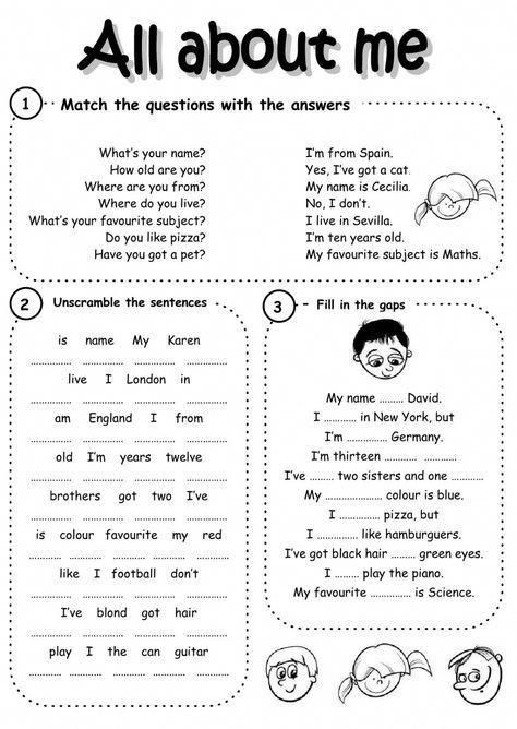 Introducing Yourself Interactive And Downloadable Worksheet Check Your Answers O In 2020 English Lessons For Kids English Grammar Worksheets How To Introduce Yourself