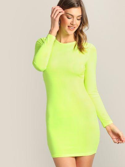 Neon Lime Cutout Back Bodycon Dress Shein Sheinside Neon Green Dresses Neon Dresses Dresses