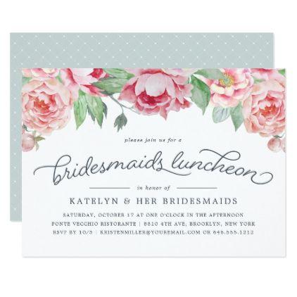 Antique Peony Bridesmaids Luncheon Invitation Zazzle