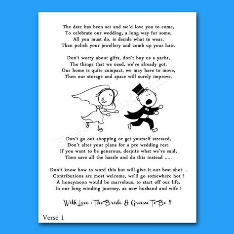 Cheap Funny Wedding Money Voucher Request Poems For Invites - Reluctant Groom 2