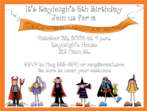 Parade of Costumes Halloween Party Invitations