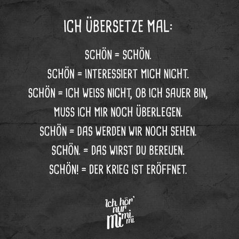 Visual Statements®️ Ich übersetz mal Sprüche / Zitate / Quotes / Ichhörnurmimimi / witzig / lustig / Sarkasmus / Freundschaft / Beziehung / Ironie