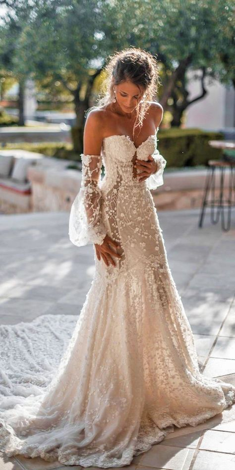 So you must also think about beautiful and delicate summer wedding dresses. There is no better than light flowy beach bridal gown this day. 24 Summer Wedding Dresses To Make Your Celebration Great Civil Wedding Dresses, Wedding Dress Trends, Best Wedding Dresses, Boho Wedding Dress, Mermaid Wedding, Strapless Wedding Dresses, Delicate Wedding Dress, Wedding Outfits, Gown Wedding