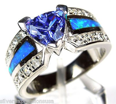 Trillion Tanzanite /& Blue Fire Opal Inlay 925 Sterling Silver Ring Size 6,7,8,9