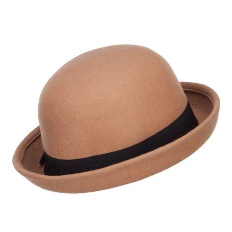 184d5455936 Wool Felt Upturn Brim Bowler Hat - Tan - CT1208E6H3D