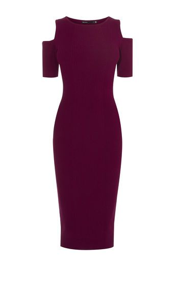 Karen Millen, COLD-SHOULDER STRIPE DRESS Dark Red