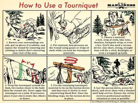 How To Make Use A Tourniquet An Illustrated Guide The Art Of Manliness Howtomakeasurvivalkit Survival Skills Survival Tips Survival Techniques