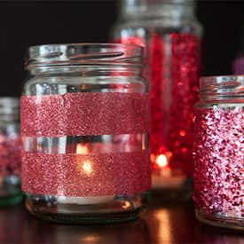 With a simple jar, double sided craft tape and glitter you can make some amazing glittered glassware! Great for candles!