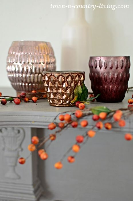 Pottery Barn Inspired Fall Mantel In Burgundy And Gray Pottery