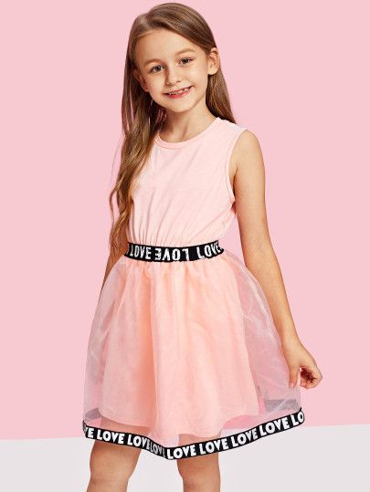 SheIn offers Girls Lettering Tape Detail Mesh Overlay Dress & more to fit your fashionable needs.