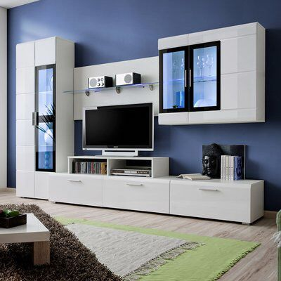 Burdette Ii Entertainment Unit For Tvs Up To 39 With Images Living Room Wall Units Modern Living Room Wall Modern Tv Room
