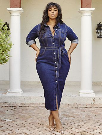 Yours Clothing Women/'s Plus Size Blue Denim Button Through Skirt