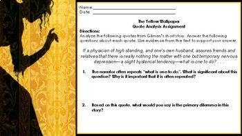 The Yellow Wallpaper Quote Analysis Assignment By A Novel Concept Yellow Wallpaper Analysis Assignments