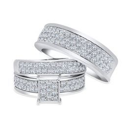 10k White Gold Trio Rings Set His And Her Rings 2 00ctw Diamonds Extra Wide Wedding Ring Trio Sets White Gold Trio Wedding Sets