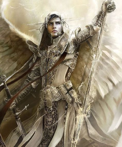 Artwork: Archangel Raphael by fantasy artist Eve Ventrue. See more artwork by this featured artist on the fantasy gallery website. Angel Warrior, Fantasy Warrior, Angels Among Us, Angels And Demons, Male Angels, Ange Demon, Guardian Angels, Angel Art, Gods And Goddesses