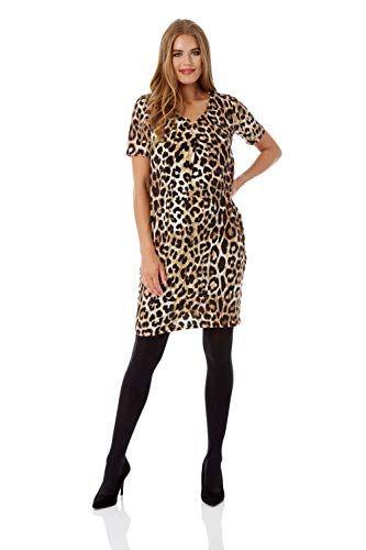 nouveau concept 93195 3e5d1 Roman Originals Femme Robe Tunique Animal Leopard Manches ...