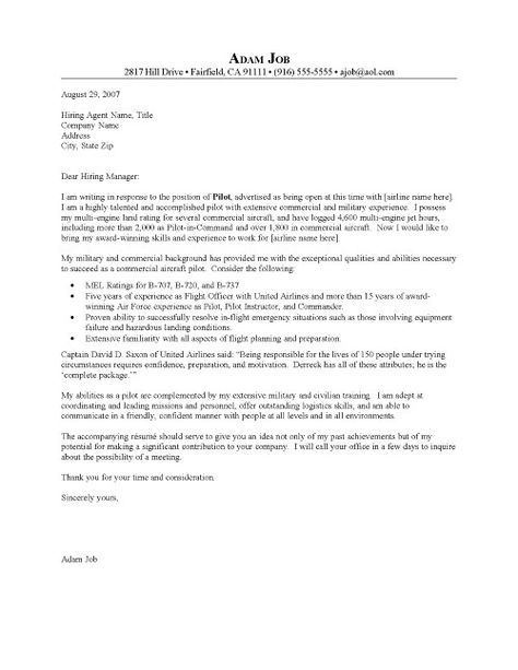 Examples Of A Cover Letter For Pilots Resume