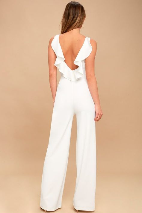 Enamored White Backless Jumpsuit