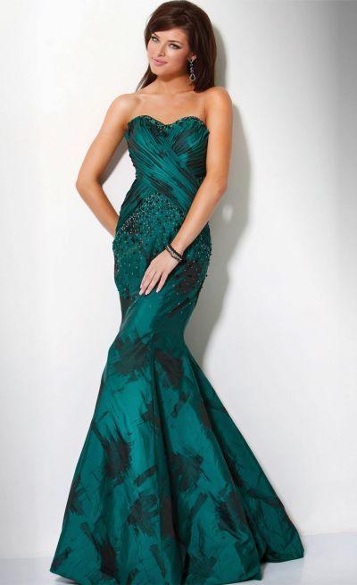Green and black print mermaid prom dress jovani 9310 image