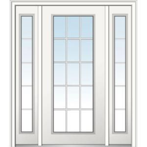 Mmi Door 64 In X 80 In Classic Clear Glass Right Hand 15 Lite Primed Fiberglass Smooth Prehung Front Doo French Doors Interior French Doors Front Entry Doors