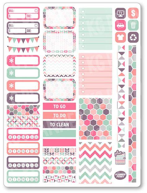 Pastels Functional Kit Planner Stickers for Erin Condren Planner, Filofax, Plum Paper