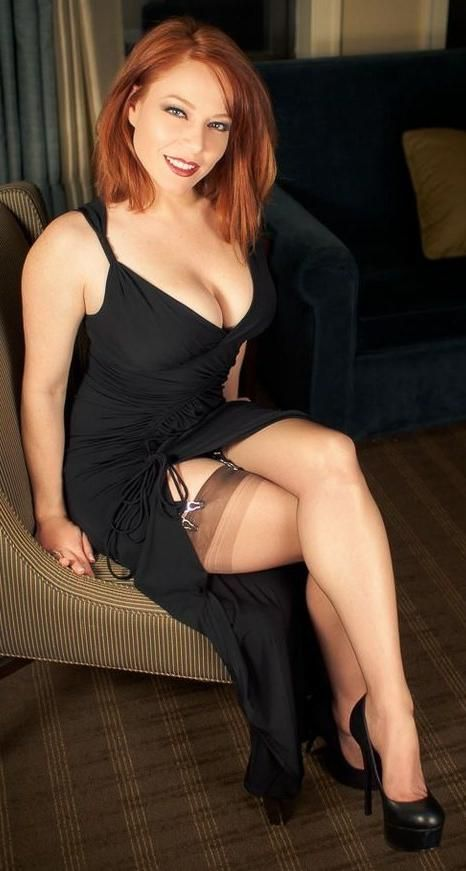 Hot redhead milf in stockings