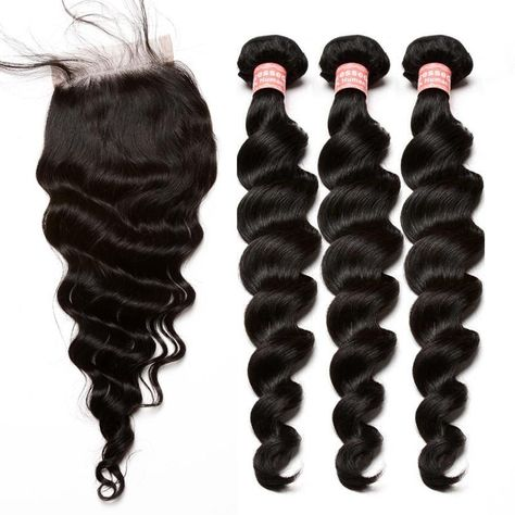 3 Loose Wave Brazilian Human Hair Bundles With Frontal Closure With