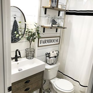 I Love A Before And After And Here Is One Of My Bathroom Such A Transformation I M Going To Farmhouse Bathroom Decor Modern Farmhouse Bathroom Small Bathroom