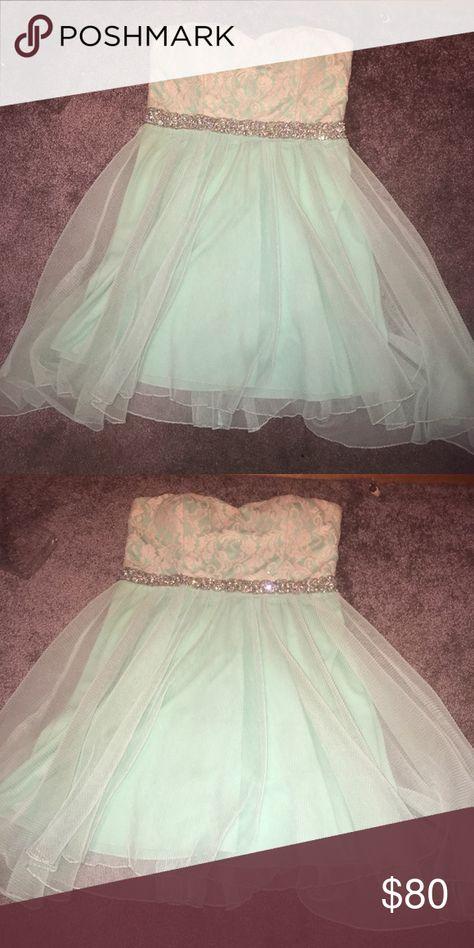 Semi formal dress Teal and white beaded semi formal dress Deb Dresses Mini