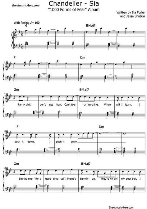 Chandelier Sheet Music Sia Partituras Piano Musica