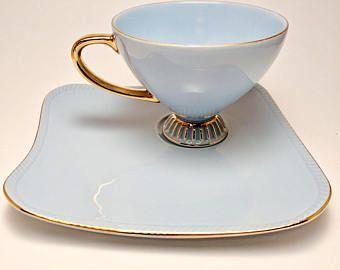 Teacup Tennis Set Vintage Westminster Australia Fine Bone China Teacup Plate Pastel Blue Baby Blue Tenn Tea Cups Vintage Tableware Cup And Saucer Set