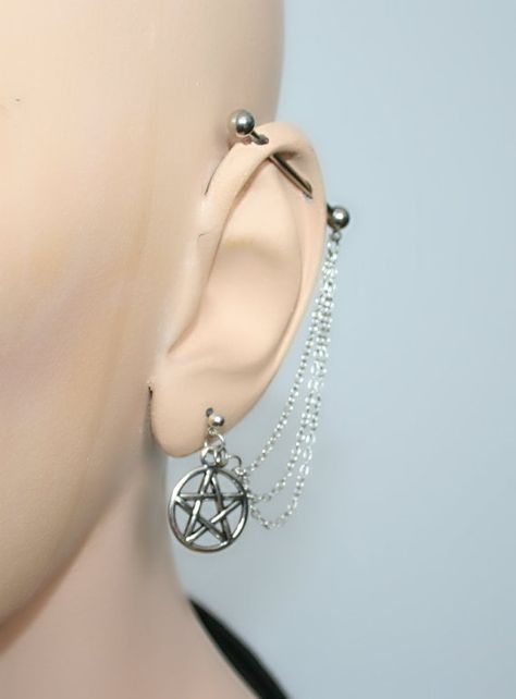 Industrial Barbell Ear Piercing with wiccan pentagram comes with the matching earring gauge Piercing for your upper ear. Round ball ends Faux Piercing, Gauges Piercing, Cool Piercings, Tongue Piercings, Barbell Piercing, Industrial Bar Earring, Industrial Piercing Jewelry, Industrial Barbell, Industrial Bookshelf