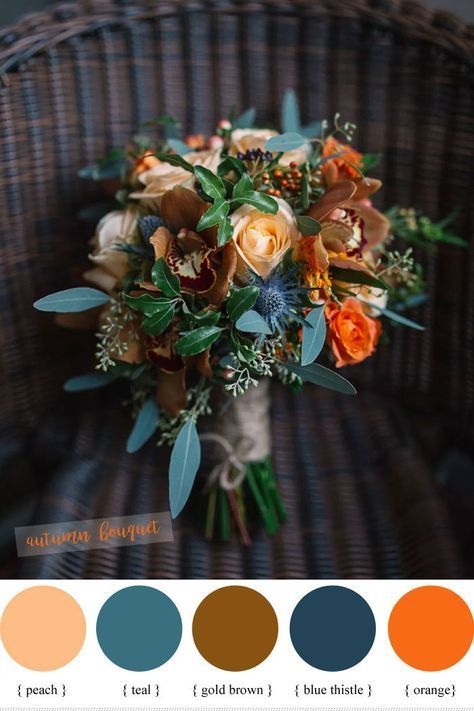 Blue peach teal and orange wedding bouquet for fall wedding // rustic, autumn, bride, bridesmaids wedding diys / boquette wedding fall / autumn wedding ideas / wedding fall colors september / wedding colors fall october Teal Wedding Bouquet, Fall Wedding Flowers, Fall Wedding Colors, Floral Wedding, Blue Bouquet, Wedding Rustic, Blue Orange Weddings, Teal Fall Wedding, October Wedding Colors