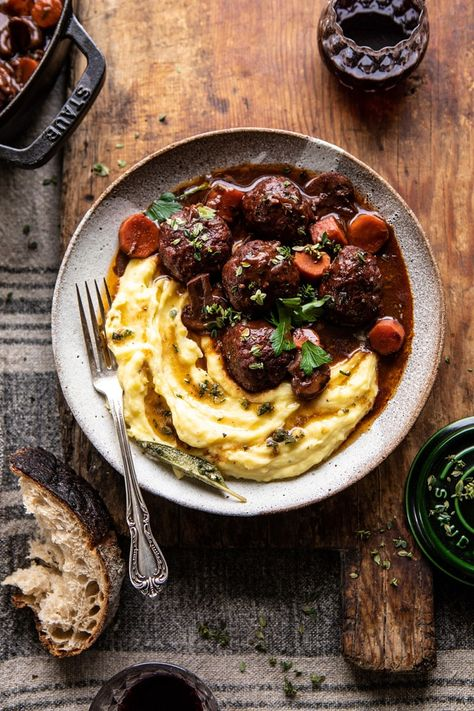 Half Baked Harvest's 30 Minute Coq au Vin Chicken Meatballs with browned Butter Mashed Potatoes Most Popular Recipes, Favorite Recipes, Classic French Dishes, Chicken Meatballs, Braised Chicken, Greek Marinated Chicken, Half Baked Harvest, Albondigas, Mashed Potatoes