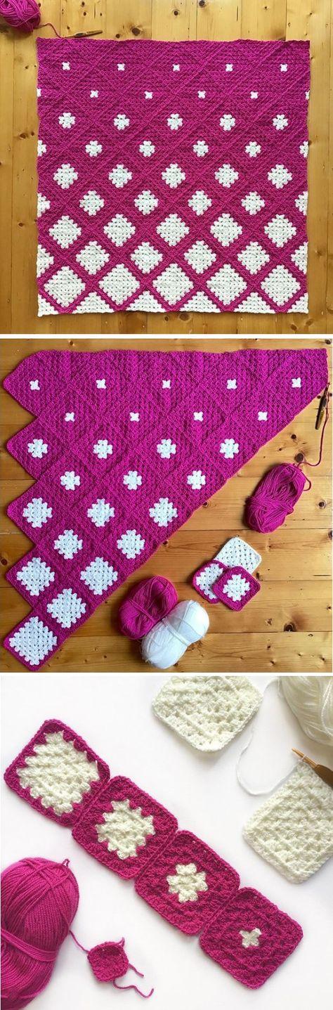 Granny Square Blanket – Snowy Design Pattern – Handmade Paris