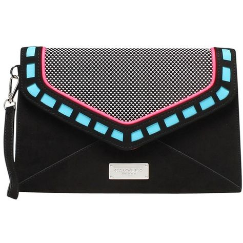 Carvela Guard Envelope Clutch Bag, Black/Other ($39) ❤ liked on Polyvore featuring bags, handbags, clutches, hand bags, metallic handbags, cocktail purse, handbags purses and microfiber handbags