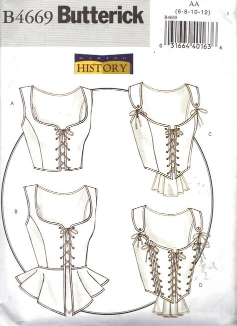 Butterick 4669 Medieval Corsets, Steampunk Sewing Pattern Plus Size 14 16 18 20 Bust 42 Renaissance Costume, Medieval Costume, Renaissance Clothing, Medieval Dress, Renaissance Fair, Motif Corset, Corset Bustier, Corset Pattern, Top Pattern